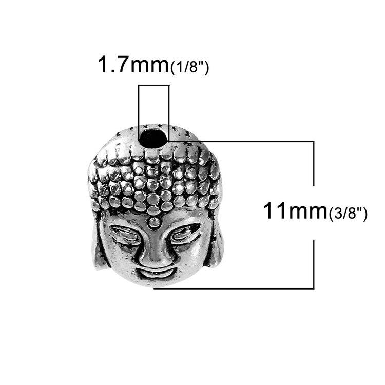 Buddahuvuden antik silverfärgade 10-pack