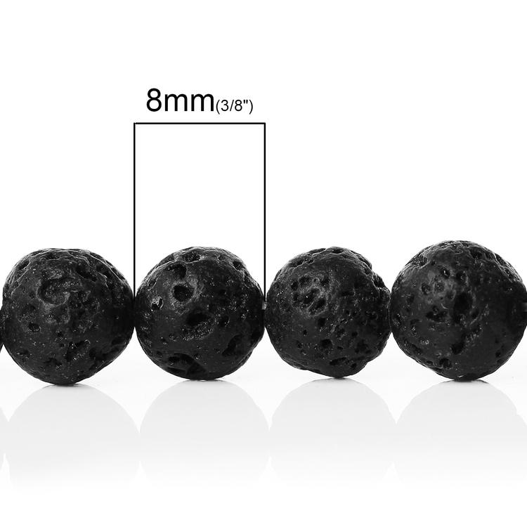Lavapärlor svarta 8 mm, 1 sträng
