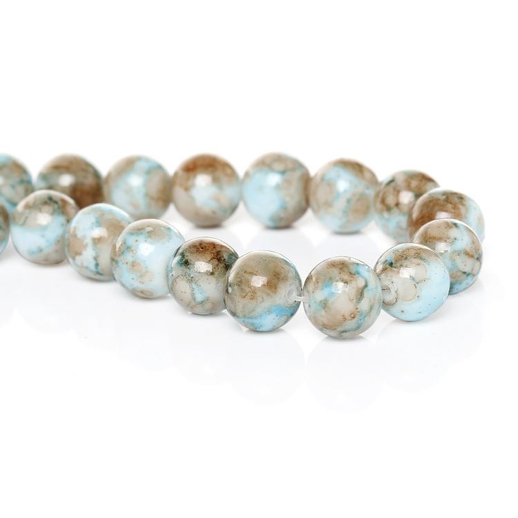 Tvåfärgade glaspärlor brun/blå 10 mm 1 sträng