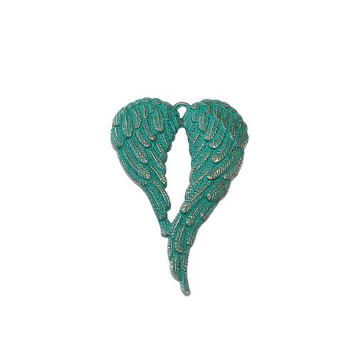 Stor maffig vinge grönturkos / antik brons 1 styck