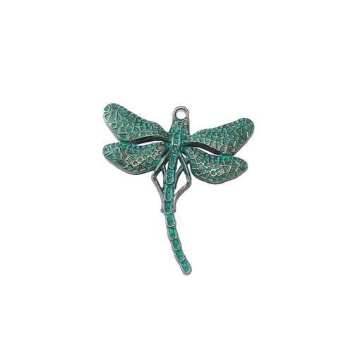 Stor maffig Trollslända grönturkos / antik brons 1 styck