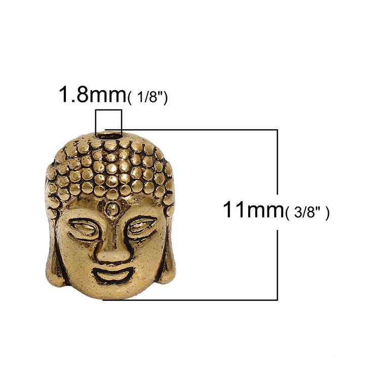 Buddha guldfärgad pärla 10-pack