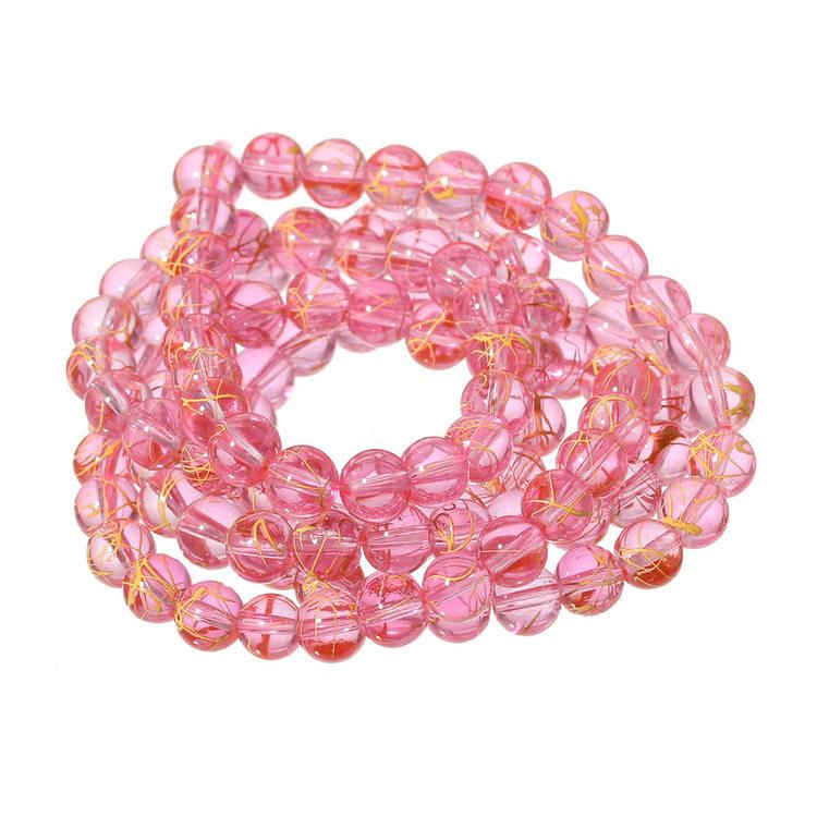 Rosa med guldstänk i 8 mm 1 sträng