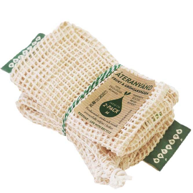Nätpåse Medium, 100% Ekologisk bomull, 2st, ekologisk GOTS certifierad bomull