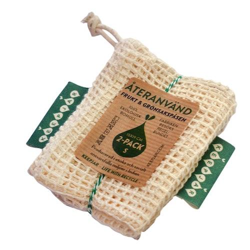 Nätpåse Small, 100% Ekologisk bomull, 2-pack, EUKJ1012