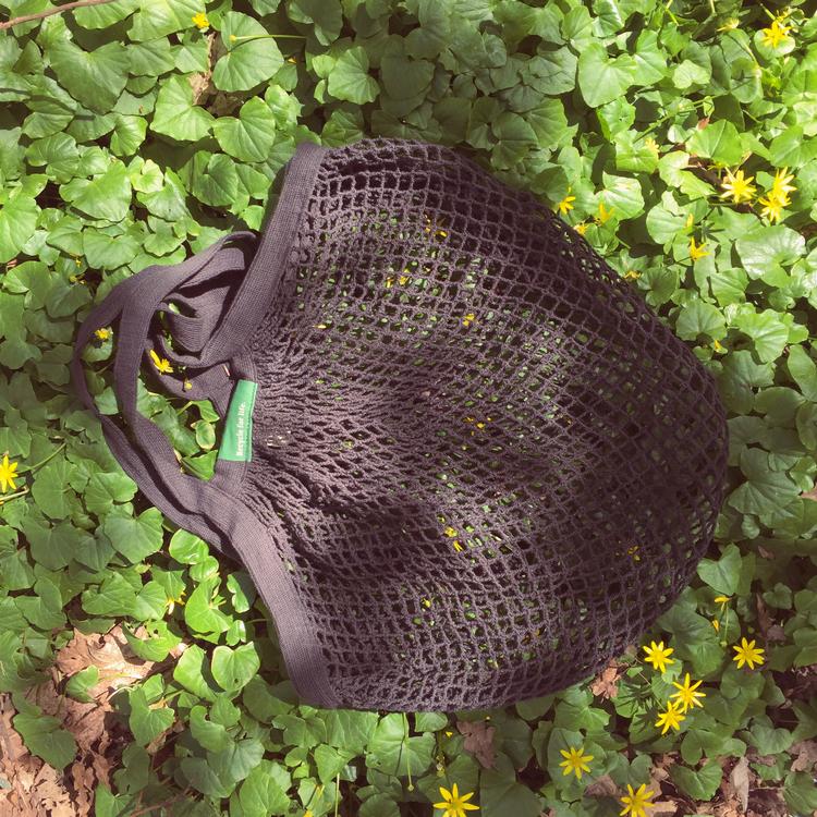 Nätkasse med långa handtag, mörkgrå, ekologisk GOTS certifierad bomull