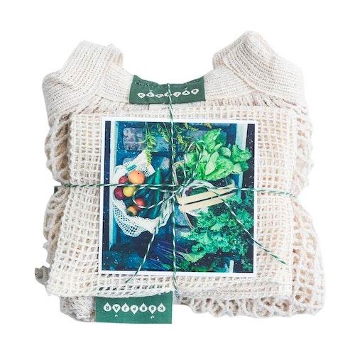 Zerowaste presentpaket, mediumpaketet, långa handtag, ekologisk GOTS certifierad bomull