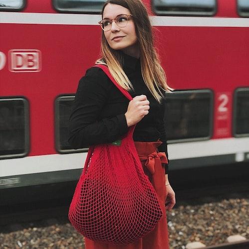 Nätkasse med långa handtag, röd, ekologisk certifierad bomull, EUKJ1046