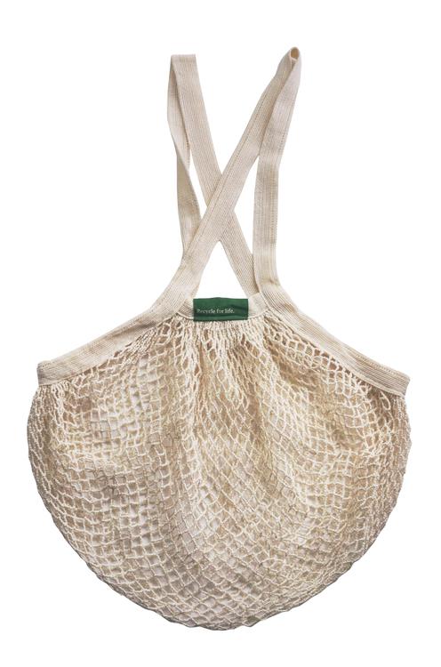 Nätkasse med långa handtag, 100 % ekologisk GOTS certifierad bomull