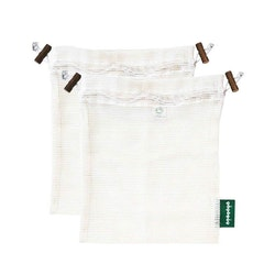 Tvättpåse med dragsko, ekologisk certifierad bomull, M 2st, EUKJ1040