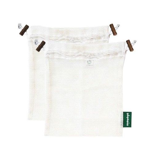 Tvättpåse med dragsko, ekologisk GOTS certifierad bomull, M 2st
