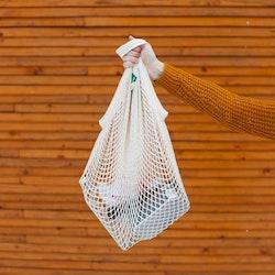 Nätkasse med korta handtag, 100 % ekologisk GOTS certifierad bomull