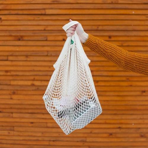 Nätkasse med korta handtag, 100 % ekologisk certifierad bomull, EUKJ1024