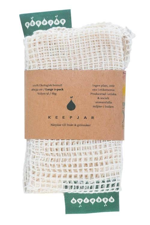 Nätpåse Large, 100% Ekologisk bomull, 2st, ekologisk GOTS certifierad bomull