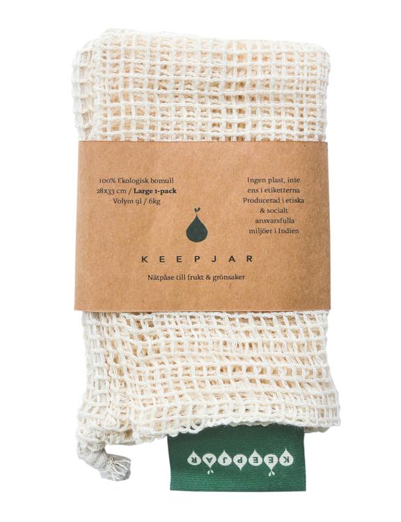 Nätpåse Large, 100% Ekologisk bomull, 1st, ekologisk GOTS certifierad bomull