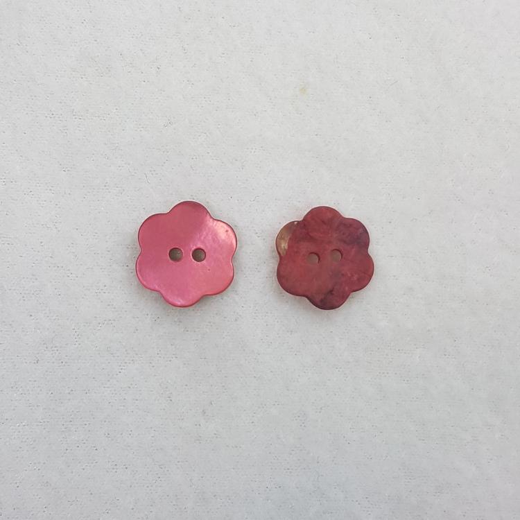 Pärlemoknapp Blomma (mörkrosa)