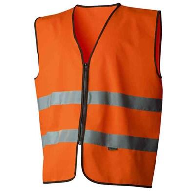 Varselväst orange zip klass 2 One size