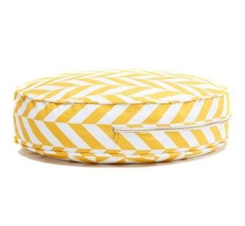 Herringbone - gul rund golvkudde