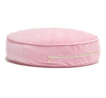 Ottoman - rosa golvkudde i sammet