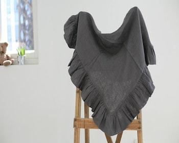 Babyfilt i linne mörk-grå