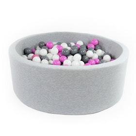Grå bollhav (bollar – grå, rosa & vit)