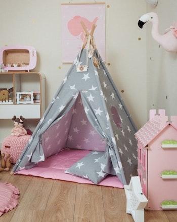 Tipi tält - Stjärnhimmel i rosa - från Only Handmade