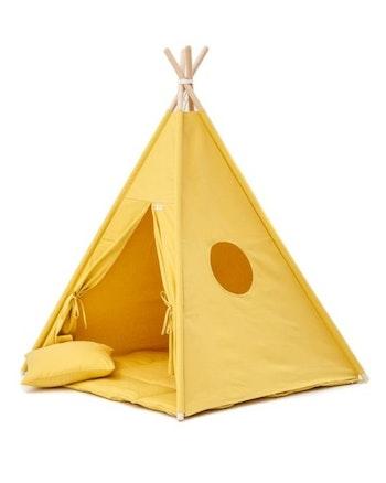 Solsken - Gult tipi tält med tältgolv och kuddar från Only Handmade