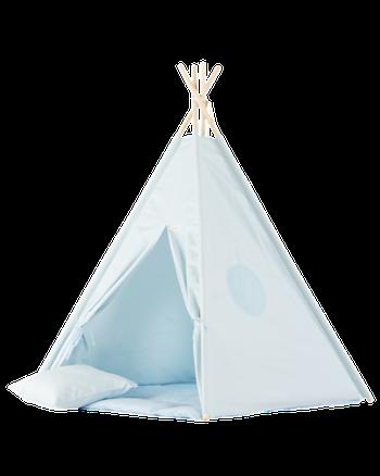 Blå Dröm - blått Tipitält med lekmatta