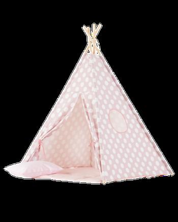 Rosa tipi tält med charmiga prickar från Only Handmade