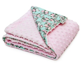 Fleecefilt - rosa blommor
