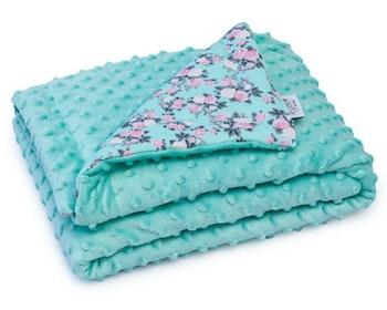 Varm filt baby - turkosa blommor