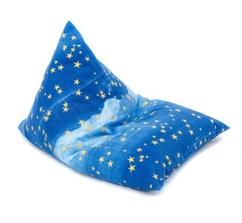 Saccosäck med natthimmel mönster i blått med gudliga stjärnor