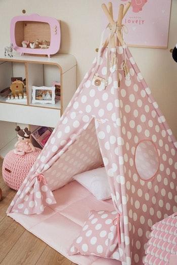 Prickar - rosa Tipi tält med lekmatta