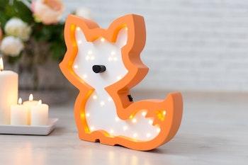 Orange räv lampa - nattlampa för barn från Only Handmade