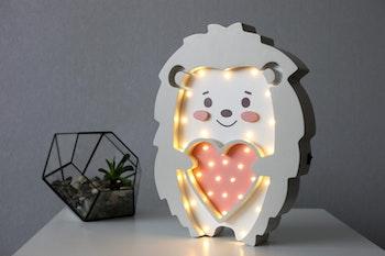 LED lampa för barn i form av en igelkott
