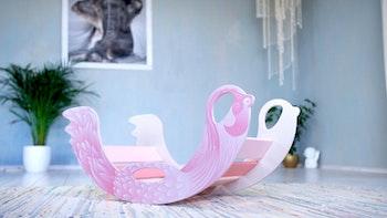 Flamingo trägunga - rosa gunga för små tjejer