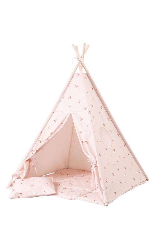 Tipi tält Rosé tipitält med lekmatta och kuddar