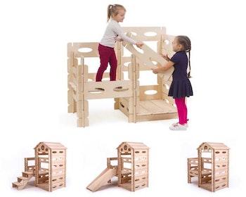 Montessori lekstuga med trappsteg och rutschkana