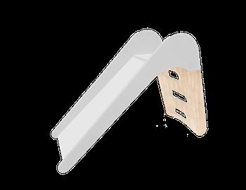 Inomhus rutschkana i vit och trä