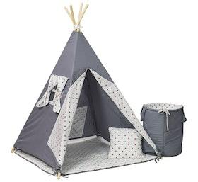 Tipi-tält med matchande leksakskorg