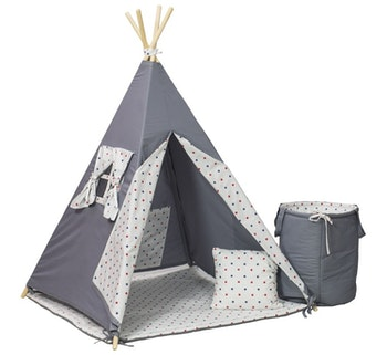 Tipi-tält med leksakskorg - rosa