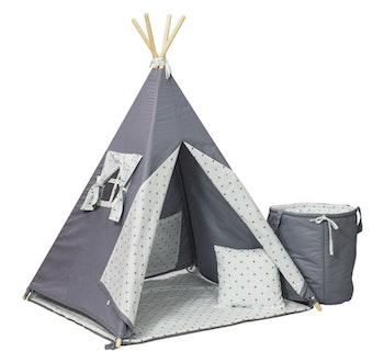 Tipi-tält med leksakskorg - blå