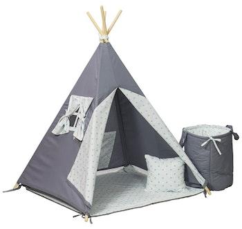 Tipi-tält med leksakskorg - turkos