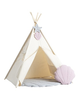 Tipi tält Snäckan med vimpel - kudde - lekmatta