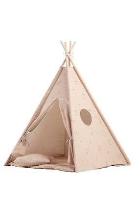 Lektält Tipi - beige - med tältgolv och kudde