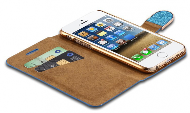 Iphone 6/6S  - Plånbok Glitter -Gnistrande Stenar - Silver