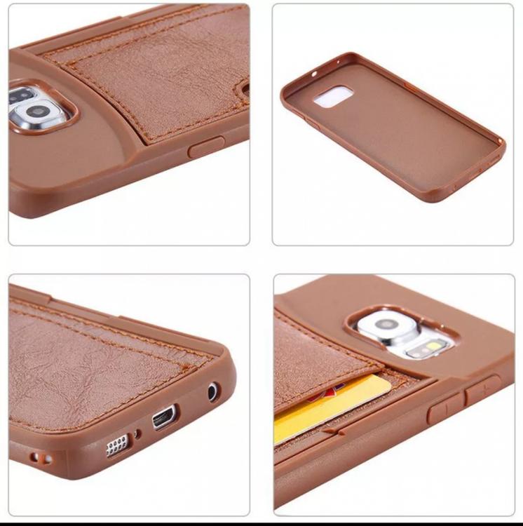 Samsung Galaxy S6 Skal - Slimmat - Med Kortplatser - Brun