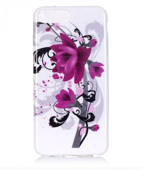 Iphone 7/8 Plus - Mjukt Mobilskal - Lila Blomma - Vit -TPU