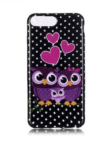 Iphone 7/8 Plus - Mjukt Mobilskal - Ugglor - Prickig -TPU