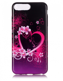Iphone 7/8 Plus - Mjukt Mobilskal - >Hjärtan & Blommor -TPU